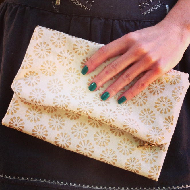 I made a clutch too. 100% organic cotton canvas with metallic printed pattern.