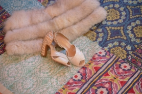 BHLDN shoes and vintage fur wrap